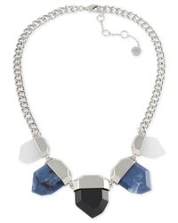 French Connection | Blue Silver-tone Stone Nugget Necklace | Lyst