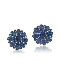 Carolee | Blue Glass Stone Clip-on Button Earrings | Lyst