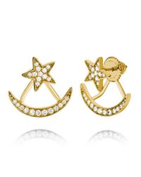 Pori - Metallic 18 K White Gold Pltd Sterling Silver Cz Star And Crescent Jacket Earrings - Lyst