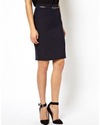 ASOS | Blue Belted Pencil Skirt | Lyst