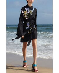Cynthia Rowley - Black Embellished Cotton Sateen Kimono Dress - Lyst