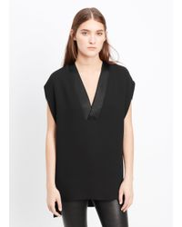 Vince - Black Satin Trim V-neck Blouse - Lyst
