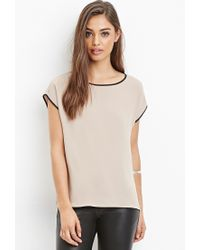 Forever 21 | Natural Contrast-trimmed Top | Lyst