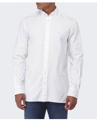 Hackett White Slim Fit Plain Oxford Shirt for men