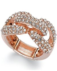 INC International Concepts | Metallic Rose Gold-tone Crystal Pavé Stretch Knot Ring | Lyst