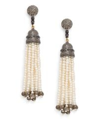 Bavna | Metallic Diamond, Freshwater Pearl & Sterling Silver Tassel Earrings | Lyst
