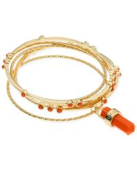 Guess - Metallic Gold-tone Coral Stone Bangle Bracelet Set - Lyst