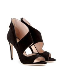 Miu Miu | Black Suede Sandals | Lyst