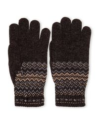 Ben Sherman - Gray Fair Isle Knit Gloves for Men - Lyst