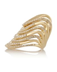 Lynn Ban | Metallic Crest Tip 14-Karat Gold Diamond Phalanx Ring | Lyst