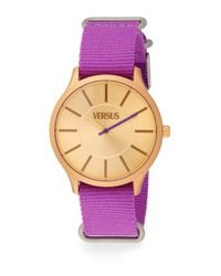 Versus | Less Goldtone-Finished Aluminum Purple Woven Strap Watch | Lyst