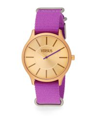 Versus - Less Goldtone-Finished Aluminum Purple Woven Strap Watch - Lyst