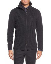 Zachary Prell | Gray 'goldhawk' Merino Wool & Cashmere Zip Sweater for Men | Lyst
