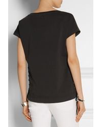 Balmain - Black Lace-Up Cotton-Jersey T-Shirt - Lyst