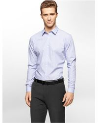 Calvin Klein | Purple White Label Slim Fit Solid Non-iron Cool Tech Shirt for Men | Lyst