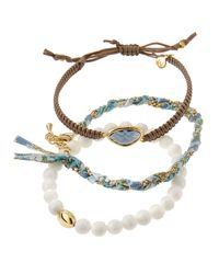 Tai | Threepiece Bracelet Set Whitebrown | Lyst