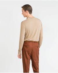 Zara | Natural Funnel Neck Ribbed Sweater for Men | Lyst