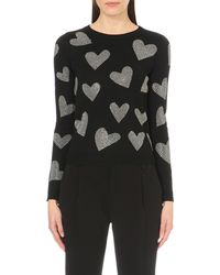 Alice + Olivia | Gray Embellished Heart-print Wool Jumper | Lyst