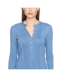 Ralph Lauren | Blue Pintucked Cotton Top | Lyst