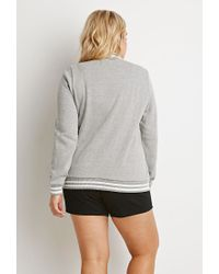 Forever 21 - Gray Varsity-striped Baseball Jacket - Lyst