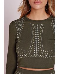 Missguided - Natural Stud Detail Crop Top Khaki - Lyst