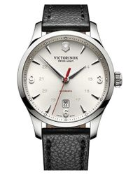 Victorinox | Black 'alliance' Round Leather Strap Watch for Men | Lyst