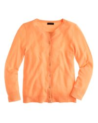 J.Crew - Orange Italian Featherweight Cashmere Cardigan Sweater - Lyst