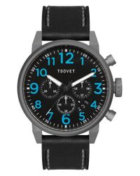 Tsovet - Metallic 'jpt-ts44' Chronograph Leather Strap Watch for Men - Lyst