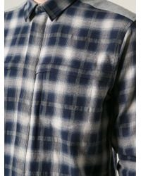 IRO - Blue Inset Colour Block Check Shirt for Men - Lyst
