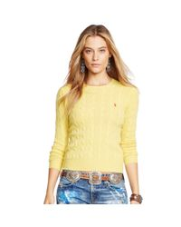 Polo Ralph Lauren - Yellow Cable-knit Wool-blend Sweater - Lyst