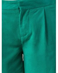 Paul by Paul Smith   Green Perforated Shorts   Lyst