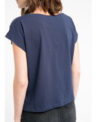 Mango - Blue Embroidered Panel T-Shirt - Lyst