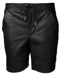 T By Alexander Wang | Black Leather Board Short | Lyst