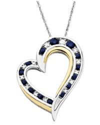 Macy's | Blue 14k Gold And Sterling Silver Heart Necklace, Sapphire (1/2 Ct. T.w.) And Diamond Accent | Lyst