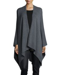 Eileen Fisher | Gray Cozy Luxe Poncho/cardigan | Lyst
