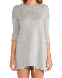 Free People - Gray Tricot Pullover - Lyst