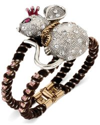 Betsey Johnson | Gray Twotone Mouse Pink Crystal Hinge Bangle Bracelet | Lyst