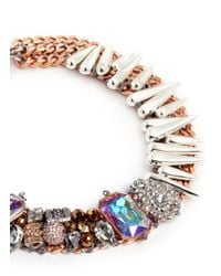 Assad Mounser - Brown 'drago' Crystal Pavé Bead Spike Collar Necklace - Lyst