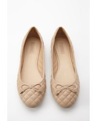 Forever 21 - Brown Quilted Faux Leather Ballet Flats - Lyst