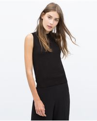 Zara | Black Sleeveless Knit Top | Lyst