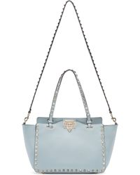 Valentino - Blue Leather Small Rockstud Tote - Lyst