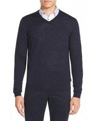 Ted Baker - Blue 'batatak' Slim Fit Merino Wool V-neck Sweater for Men - Lyst