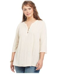 Lucky Brand | Natural Lucky Brand Plus Size Henley Blouse | Lyst