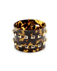 Pluma - Metallic Resin And Brass Double Viti Large Bangle W/crystals - Lyst