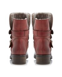 Dune Black - Red Peggy Double Buckle Leather Calf Boots - Lyst
