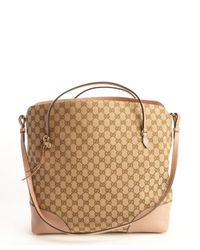 Gucci - Pink Leather Top Handle Convertible Tote - Lyst