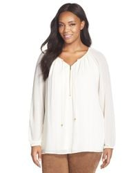 MICHAEL Michael Kors | White Zip Front Peasant Tunic | Lyst