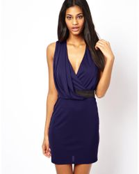 ASOS - Blue Drape Mini Dress With Belt - Lyst