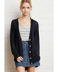 Forever 21 - Blue Loose-knit Heart Pattern Cardigan - Lyst