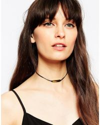 ASOS - Black Sleek Bar Cord Choker Necklace - Lyst